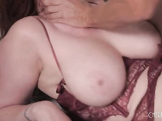 Fucking a titsy redhead in lacy lingerie