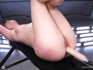Highly lifts her legs in shoes and substitutes her pussy for a sex machine